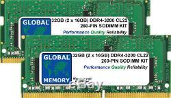 32GB (2 x 16GB) DDR4 3200MHz PC4-25600 260-PIN SODIMM MEMORY RAM KIT FOR LAPTOPS