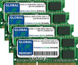 32GB (4x8GB) DDR3L 1600MHz PC3L-12800 204-PIN SODIMM MEMORY RAM KIT FOR LAPTOPS
