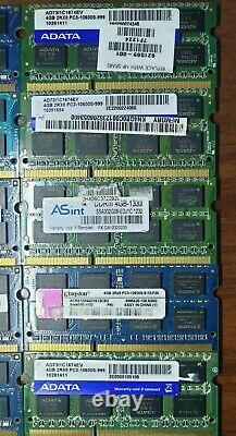 50 x 4GB DDR3 PC3 10600s Laptop Notebook Memory Ram SODIMM Job Lot All Tested