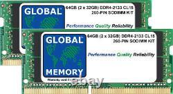 64GB (2x32GB) DDR4 2133MHz PC4-17000 260-PIN SODIMM MEMORY RAM KIT FOR LAPTOPS