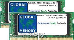 64GB (2x32GB) DDR4 2666MHz PC4-21300 260-PIN SODIMM MEMORY RAM KIT FOR LAPTOPS