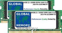 64GB (2x32GB) DDR4 3200MHz PC4-25600 260-PIN SODIMM MEMORY RAM KIT FOR LAPTOPS