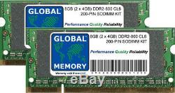 8GB (2 x 4GB) DDR2 800MHz PC2-6400 200-PIN SODIMM MEMORY RAM KIT FOR LAPTOPS