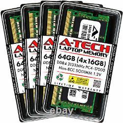 A-Tech 64GB Kit 4x 16GB PC4-17000 Laptop SODIMM DDR4 2133 MHz Non-ECC Memory RAM