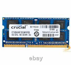 Crucial 10x 8GB 2Rx8 PC3L-12800S SODIMM RAM Laptop Memory Intel DDR3L 1600Mhz @D