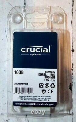 Crucial 16 GB (1x16 GB) DDR3L-1600 SODIMM CT204864BF160B Laptop RAM Memory