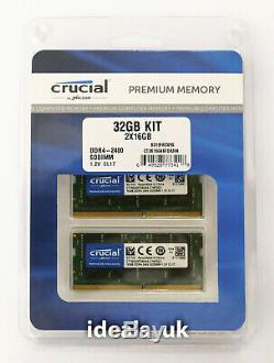 Crucial 32GB (16GB x 2) DDR4 2400MHz SODIMM (CT2K16G4SFD824A) Laptop Memory