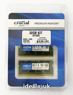 Crucial 32GB (16GB x 2) DDR4 2400MHz SODIMM (CT2K16G4SFD824A) Laptop RAM