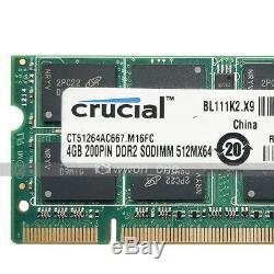 Crucial 4GB 8GB 16GB RAM PC2-5300 DDR2 667Mhz 200Pin SODIMM Laptop Memory RAM
