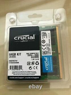 Crucial 64GB (32GB x 2) DDR4 2666MHz SODIMM laptop imac RAM