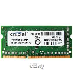Crucial 8GB 1Rx8 PC3L-12800 DDR3L-1600MHz 204pin SDRAM 1.35v Laptop Memory RAM