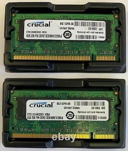 Crucial 8GB 2 X 4GB PC2-6400s DDR2-800 200pin SODIMM Laptop Memory RAM Upgrade 2