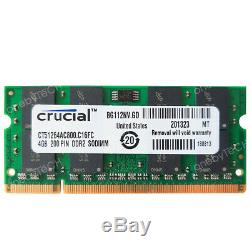 Crucial 8GB 2x4GB PC2-6400 DDR2-800 200pin SODIMM NonEcc Laptop Memory RAM