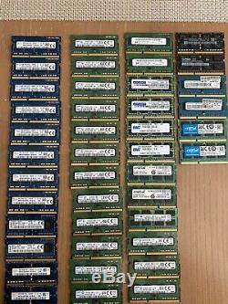 LOT Of 42 4GB DDR3 Mixed Brands 1600MHz PC3L-12800S Laptop SODIMM Memory RAM