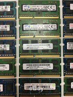 Tested Lot of 72GB (4GB x16) (8GB x1) Mix Speed/Brand DDR3/L Laptop RAM Memory