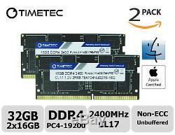 Timetec 2x16GB DDR4 2400MHz PC4-19200 Non-ECC 1.2V 2Rx8 SODIMM Laptop Memory RAM